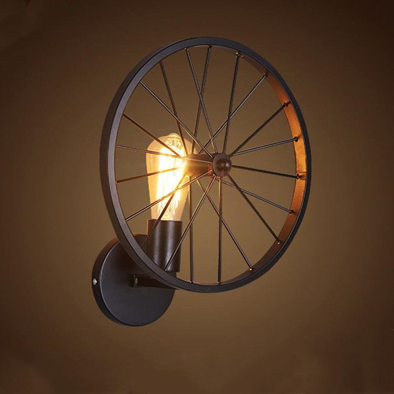 Vintage Wheel Antique LED Wall Lamp Loft Industrial Style Black Wrought Iron Wall Mounted Light Restaurant Corridor Hanging Lamp