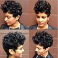 Новые парики для чернокожих женщин Сексуальная Мода короткие вьющиеся женские Синтетические Волосы Парика Жаропрочных Волокна Free Cap