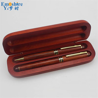 Two Pieces Ballpoint Pen and Pencil Case Wooden Pencil Case Roller Ball Pen for Weeding Gifts Office & School Supplies P417