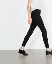 2015 Brand NEW Women Fashion NAVY BLACK 2 COLORS Ankle-length ELASTIC WIDE WAIST LEGGINGS Pants Casual Trousers with Zippers