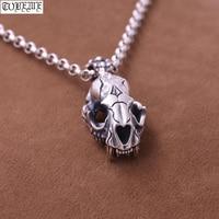 100% 925 Silver Tiger Skull Pendant Necklace Sterling Tiger Skeleton Pendant Necklace Punk Jewelry Man Pendant Necklace