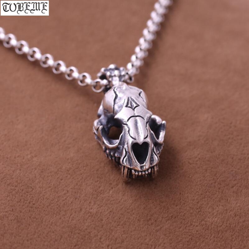100% 925 argent tigre crâne pendentif collier Sterling tigre squelette pendentif collier Punk bijoux homme pendentif collier