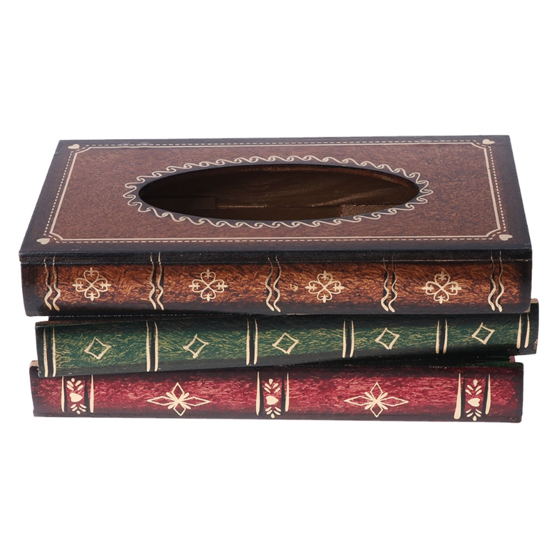 Retro Style Book Shape Wooden Print Tissue Box Bathroom Vanity Home Decoration
