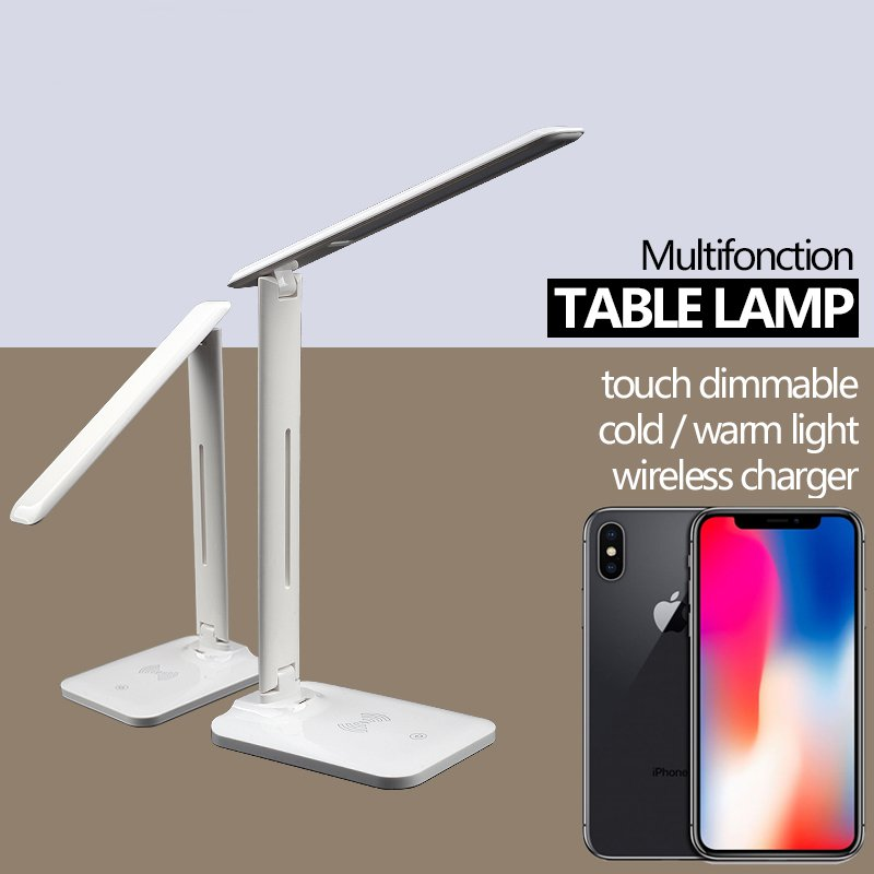 Youbina eye protection adjustable LED Table Lamp desk lamp Qi Wireless Charger Foldable Mobile Phone USB Charging in Mobile Phone Chargers from Cellphones Telecommunications