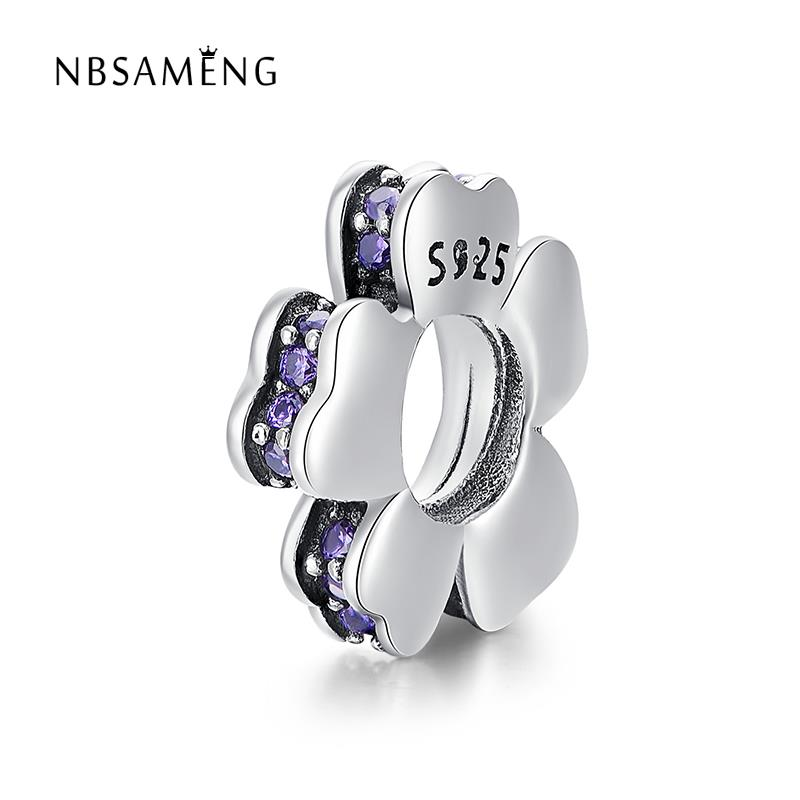 2PC Heart Ring Purple Enamel Spacer Charms for Silver European Bead Bracelets Fashion Jewelry for Women Man