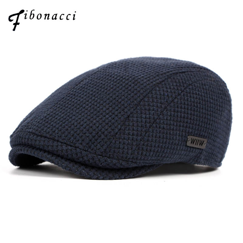 Fibonacci Autumn Winter Knitted Men Beret Hat Brand Quality Flatcap Ivy Vintage Newsboy Cap