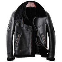 HARLEY DAMSON Black Men Genuine B3 Bomber Shearling Coat Plus Size 3XL Russian Winter Short Thick Military Pilot Leather Jacket