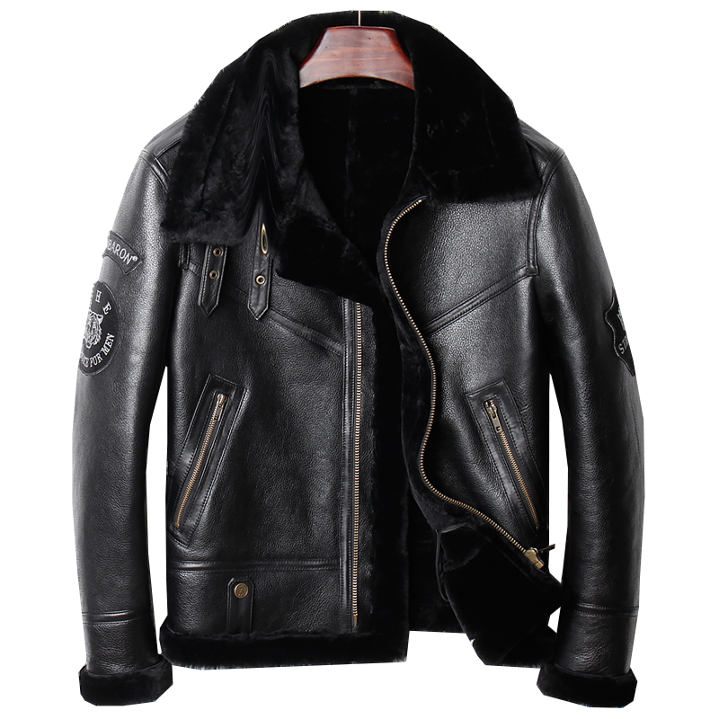 HARLEY DAMSON Negro hombres genuino B3 bombardero abrigo más tamaño 3XL ruso invierno corto grueso militar piloto chaqueta de cuero