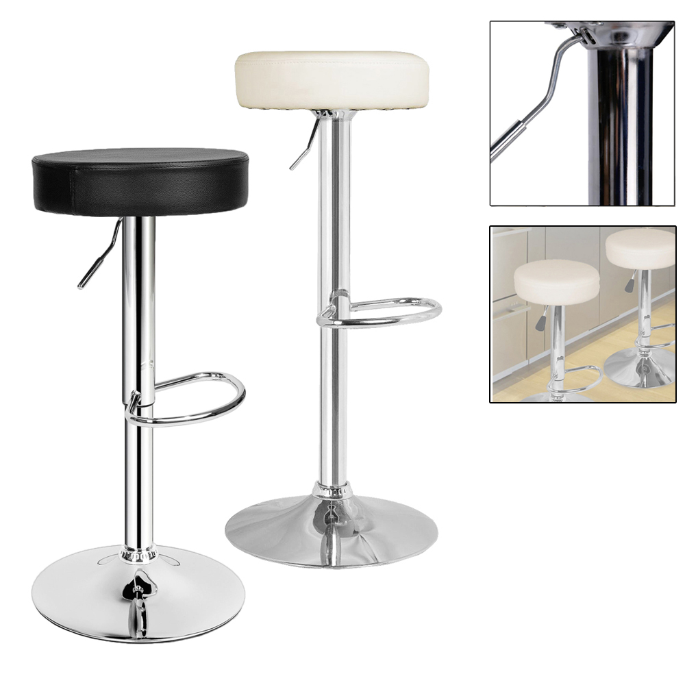 2PCS Height 64.5-84.5cm Bar Stool breakfast dining Bar Chairs Swivel Chrome plated steel Adjustable Kitchen Island Chairs Stools homall bar stool walnut bentwood adjustable height leather bar stools with black vinyl seat extremely comfy with seat back pad