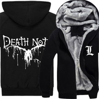 New Arrival Anime Death Note Fashion Thicken Hooded Sweatershirts Yagami Light Cosplay Casual Coat Hoodies Loose