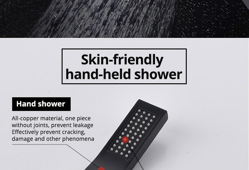 Black Shower Head Hand Shower Bathroom HandHeld Shower Head Partial Bent Brass Hand shower Handheld Balck Showerheads  (2)