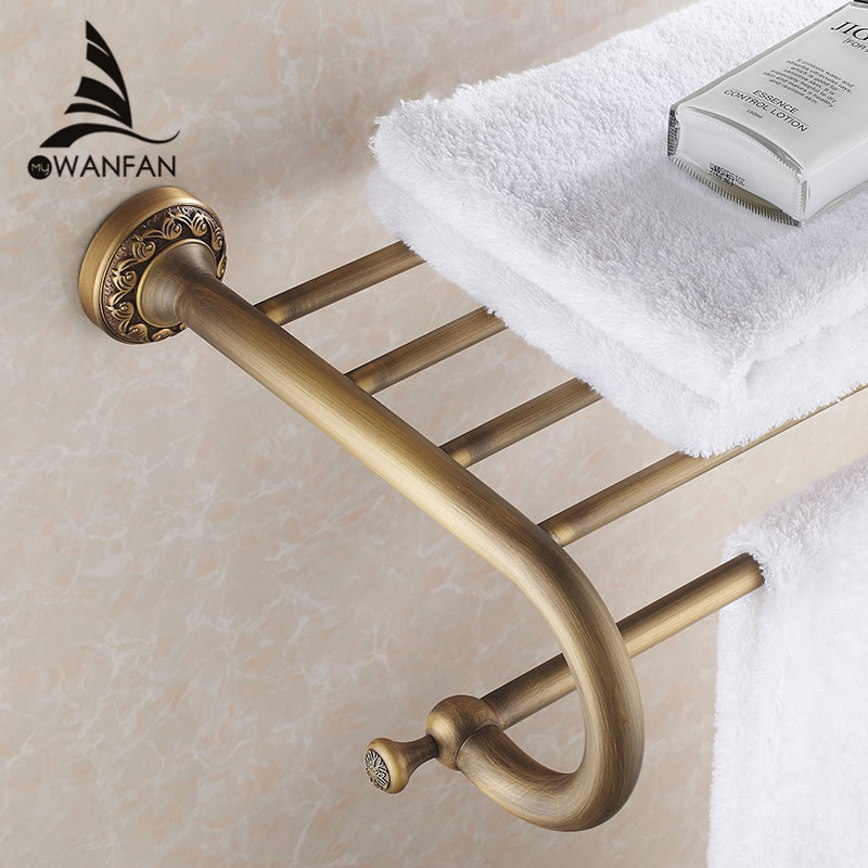 Bathroom Shelves Antique Solid Brass Wall Shelf Towel Rack Bath Rails Hanger Storage Bathroom Accessories Towel Bars Holder 3712 whole brass blackend antique ceramic bath towel rack bathroom towel shelf bathroom towel holder antique black double towel shelf
