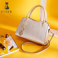 FOXER Brand Women Cow Leather Handbags Lady Simple Shoulder Bag Luxury Crossbody Bags for Female Fashion High Quality Bags