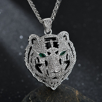 Hip Hop Iced Out Bling Tiger CZ AAA Zircon 100% Copper Animal Shape Necklace & Pendants For Men Jewelry Dropshipping