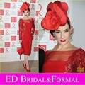 De manga larga de té de longitud Sexy opacidad Dita Von Teese vestido de cóctel rojo Celebrity Inspired vestido de noche
