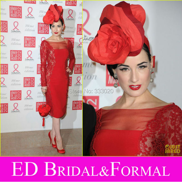 89b6183188f Long Sleeve Tea Length Sexy See Through Dita Von Teese Red Cocktail Dress  Celebrity Inspired Evening