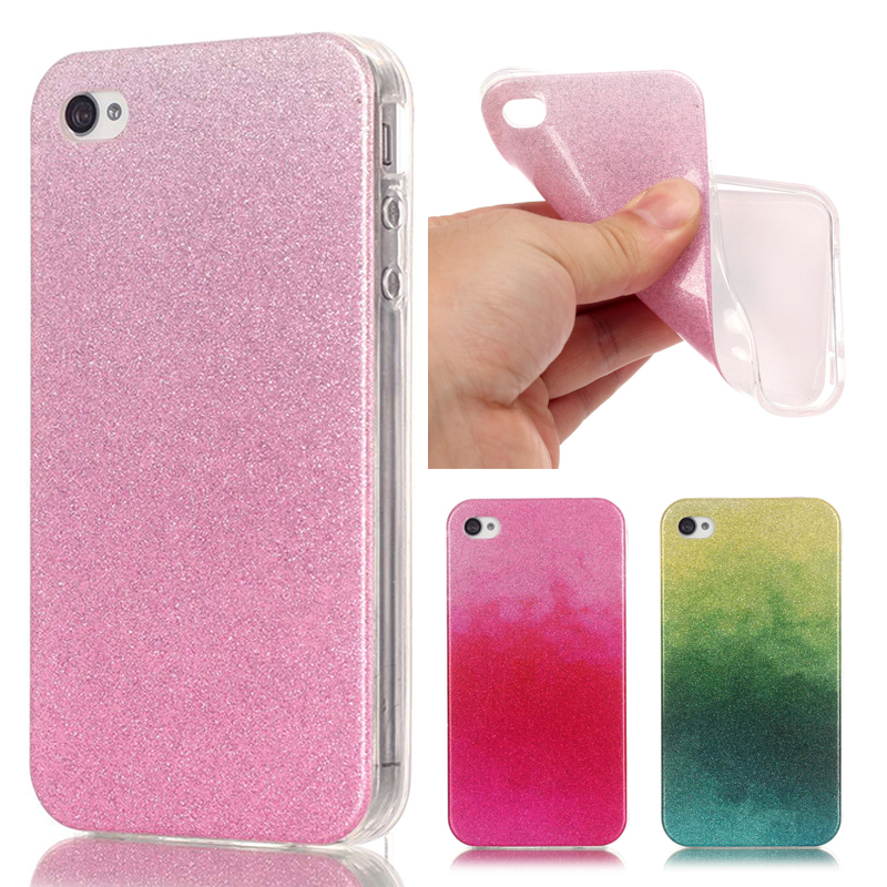 For Coque iPhone 4s Case Silicone Glitter Bling Case iPhone 4 Cover Transparent Edge Gradient Phone Case For iPhone 4s Cover