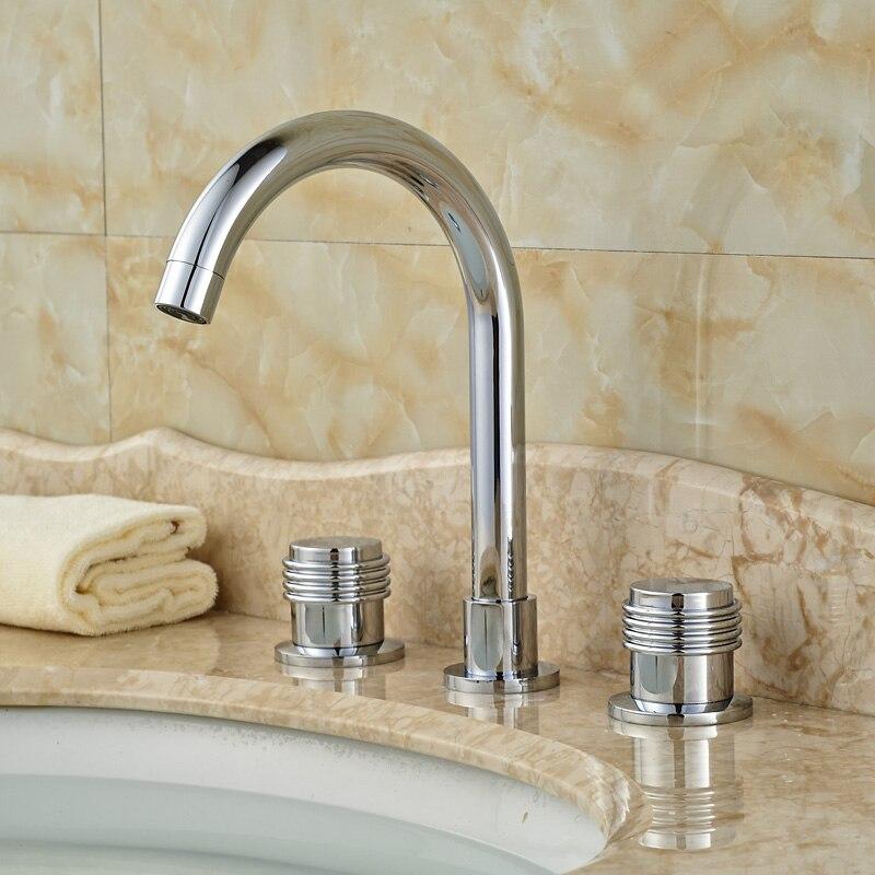 deck mount double handles brass bathroom hot cold water faucet 8 inch widespread basin mixer taps