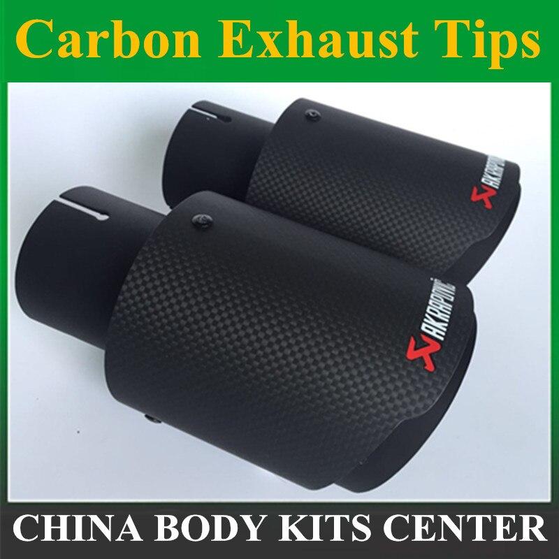 1 PC B mate Akrapovic de coche de carbono Punta de escape coche-estilo de silenciador de tubo de escape de punta de fibra de carbono Punta de escape