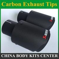 1 pc B Fosco Akrapovic escape Ponta De Escape do carro de carbono carro styling de escape ponta silenciador tubo de escape de fibra de carbono ponta|Silenciadores| |  -