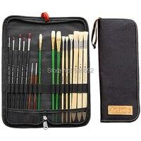 Transon 16pcs Paint Brush In One Canvas Bag Filbert Bristle Brush Point Tip Nylon Brush Different
