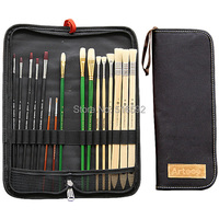 Transon 16pcs paint brush in one canvas bag, filbert bristle brush, point tip nylon brush, different types in one set