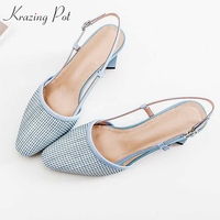 Krazing pot genuine leather hollow round toe buckle straps slingback women sandals high heels summer sun protection shoes L88