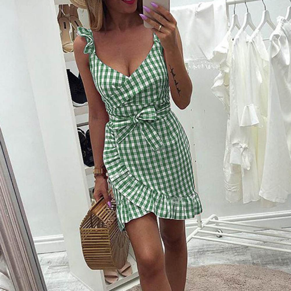 2019 New Summer Red Plaid <font><b>Dress</b></font> Vintage Beach Boho <font><b>Dress</b></font> Streetwear Ruffles Spaghetti Strap V-Neck <font><b>Sexy</b></font> Party <font><b>Women</b></font> <font><b>Dress</b></font> M0476 image