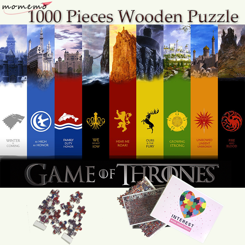MOMEMO Game of Thrones famille Badge en bois Puzzle jouets 1000 pièces Puzzle adultes adolescents enfants jeux de Puzzle personnalisés