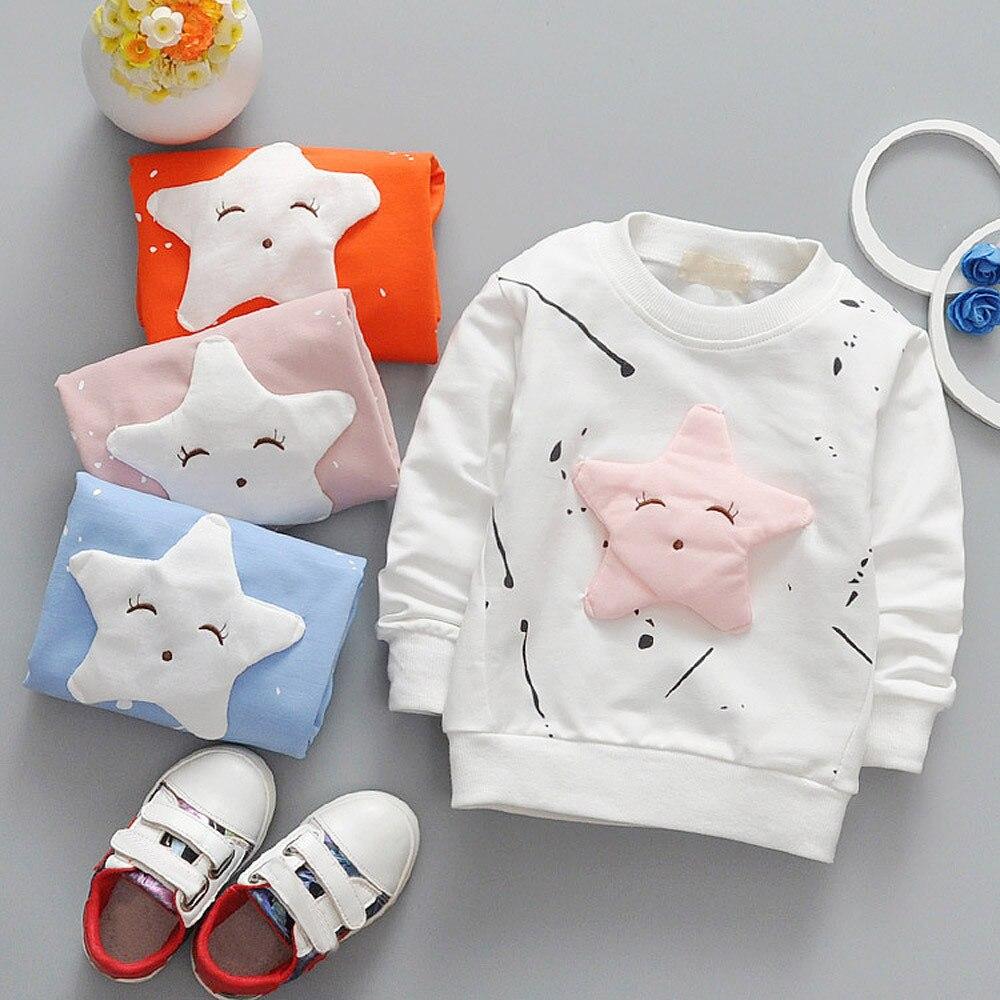 2019 Frühling Junge Mädchen Baby Outfits Kleidung Infantstar Gedruckt Nette Baumwolle Langarm Top Mäntel T-shirt Top Reise Dropship Gut FüR Antipyretika Und Hals-Schnuller