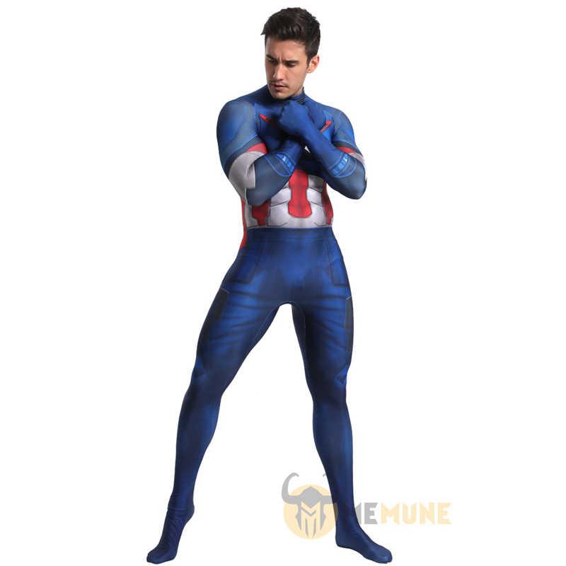 Marvel Nhân Vật Phim Siêu Anh Hùng Avengers Đội Trưởng Mỹ Toàn Thân Zentai Phù Hợp Với Halloween Cosplay Carnival Trang Phục