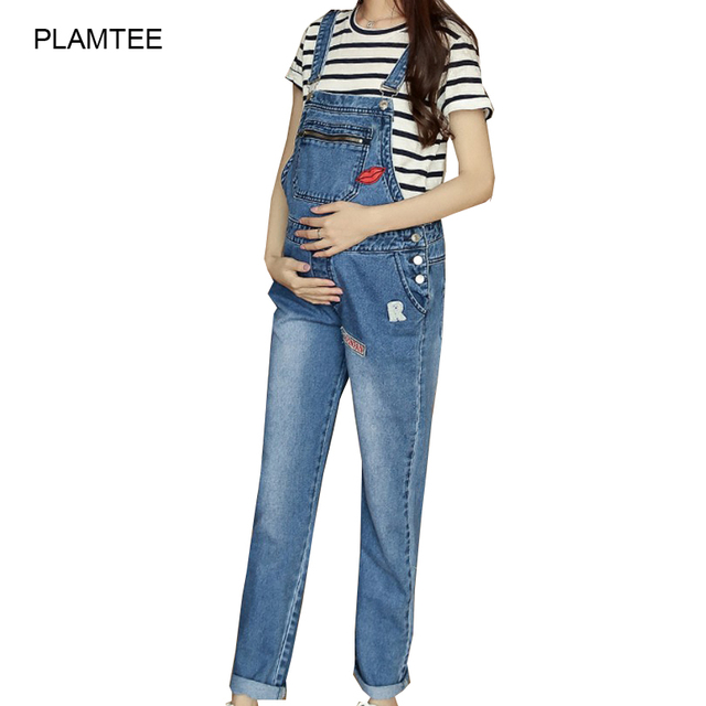 220b725a59ac3 Lip Patch Designs Jeans Premama with Zipper Adjustable Maternity Denim  Overalls Soft Loose Gestantes Jeans for