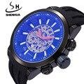 Famosa Marca de Relógios Mecânicos SHENHUA Homens Relógio À Prova de Choque À Prova D' Água do Sexo Masculino Cara Grande Faixa De Borracha Relógio Esqueleto Automática