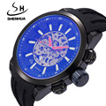 Famous Brand SHENHUA Mechanical Watches Men Male Shockproof Waterproof Clock Big Face Rubber Band Automatic Skeleton Watch