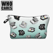 Cameras 3D Printing women cosmetic bag 2016 Fashion New makeup bag pouch pencil case trousse de maquillage neceser para mujer