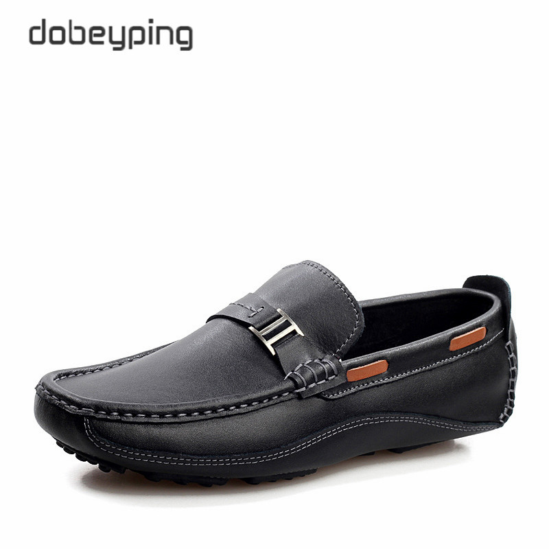 New Style Mäns Loafers Högkvalitativa Cow Leather Man Driving Shoes Casual Moccasins Male Flats Slip On Shoe Men Plus Storlek 38-47