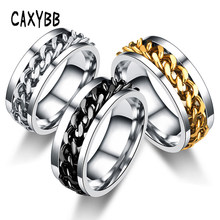 Caxybb Punk Ring Accessories Rock Stainless Steel Men's Fashion Silver Chain Spinner Rings stainless steel men women ring(China)