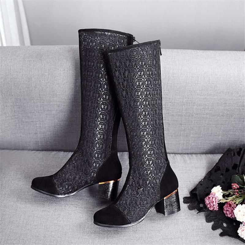 Sandales 2018 Fermeture Maille Dernier De Themost Chaussures Carré À Femme Glissière Black Modèle Talon Haute Femmes Talons D'été p5SxywUqBA