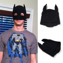 Männer Frauen Batman Häkeln Elastische Beanie Schwarze Gestrickte Maske Hut Handgemachte Winter Herbst Partei Phantasie Cosplay Foto Requisiten Kappe