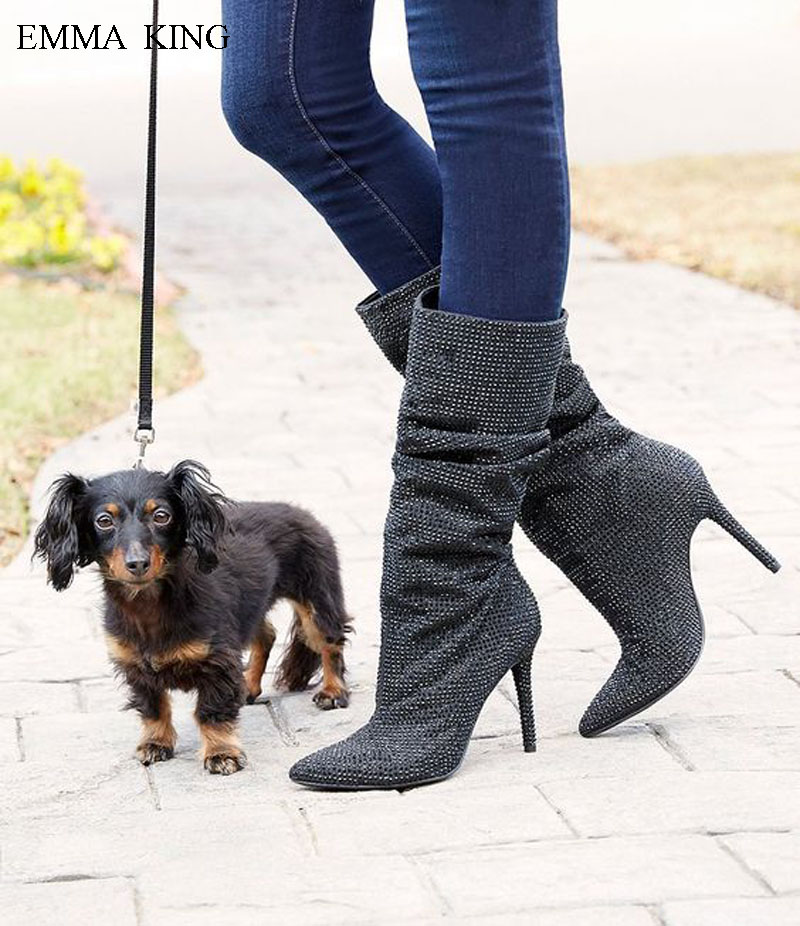 2018 Spring Autumn Zapatos De Mujer Bling Hot Drilling Mid-calf Boots Women Pointed Toe High Heels Fashion High Top Ladies Shoes2018 Spring Autumn Zapatos De Mujer Bling Hot Drilling Mid-calf Boots Women Pointed Toe High Heels Fashion High Top Ladies Shoes