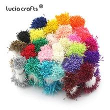 Lucia crafts, 900 шт./лот, произвольные смешанные Двойные головки, сделай сам, Искусственный Мини жемчуг, цветок, тычинка, 1 мм, цветочный тычинка, D0402