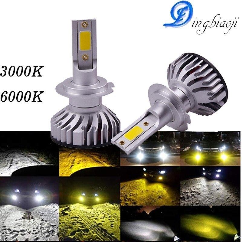2X nueva actualización Mini Canbus H4 H7 LED faro Kit 76 W 10000LM/Set H1 H11 9005 HB3 9006 HB4 H8 6000 K 3000 K coche bombillas Zccessories