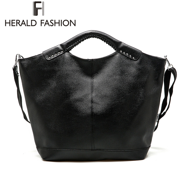 cb6177b849 Herald Fashion Casual Hobos Bag Rivet Large Capacity Women Totes Bag Autumn  and Winter PU Leather