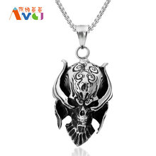 Punk Style Hell Pendant Necklace Skull Titanium Steel Men Necklaces Satanic Personalized Jewelry Box Chain 23.6″