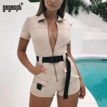 Gagaopt Women's Autumn Rompers Women Jumpsuits Khaki Mini Pants Trousers Shortsl