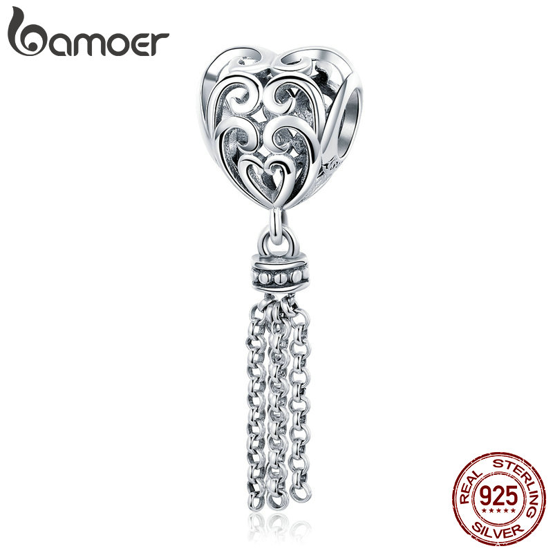 BAMOER 925 Sterling Silver Openwork Heart with Long Tassel Pendant Beads fit Women Charm Bracelets Necklaces DIY Jewelry SCC722