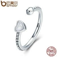 BAMOER 100 925 Sterling Silver Double Hearts Of Love Silver Enamel Open Finger Rings For Women
