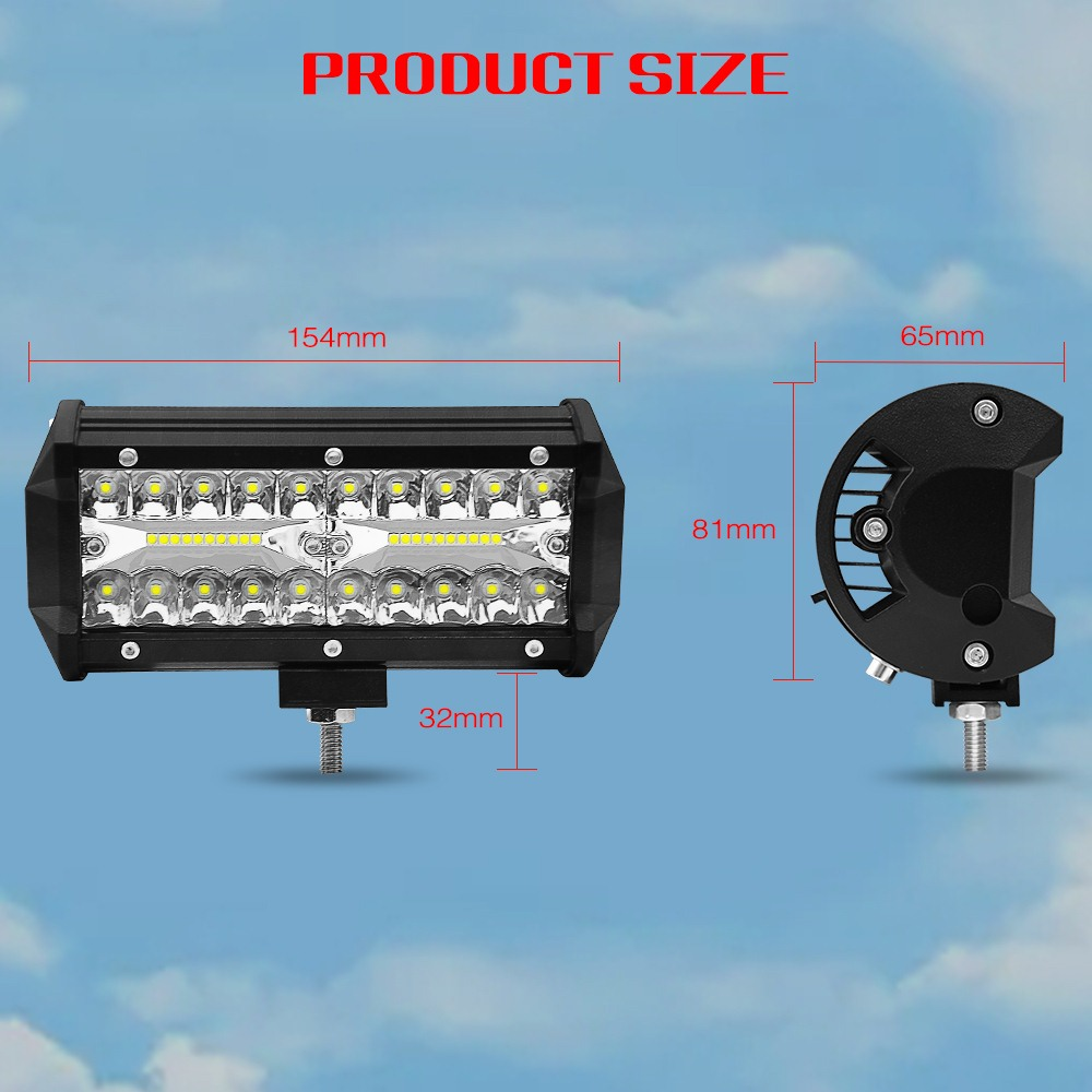 Image 2 - 7 Inch 120W two Rows Led Light Bar 6000K 12000LM Modified Off Road Roof Light Bar Car Work Light Daytime Running Lights-in Light Bar/Work Light from Automobiles & Motorcycles