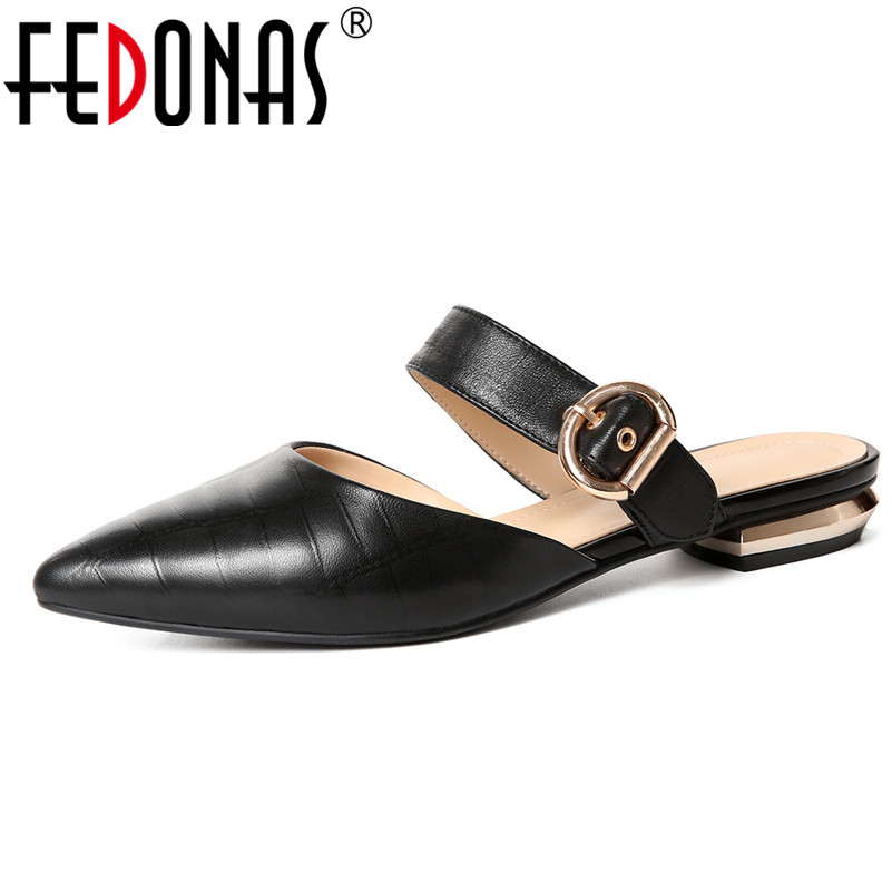 FEDONAS Fashion Gladitors Women Genuine Leather Shoes Woman Low Heels Sandals Fashion Close Toe Summer Slippers Ladies Sandals fedonas brand women summer gladiator low heeled sandals fashion comfort slippers genuine leather elegant shoes woman sandals