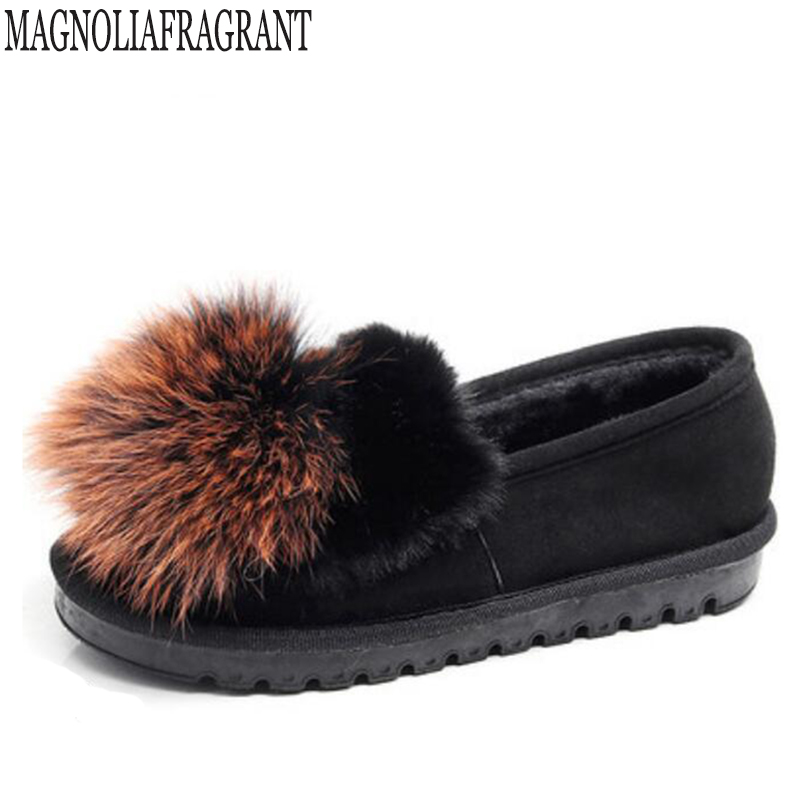 2018 Autumn Winter Women Ballet Flats Lovely Fox fur Warm Fur Comfort Cotton Shoes Woman Loafers Slip On Loafers zapatos mujer k jingkubu 2017 autumn winter women ballet flats simple sewing warm fur comfort cotton shoes woman loafers slip on size 35 40 w329
